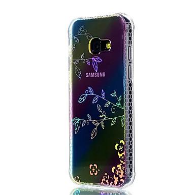 رخيصةأون حافظات / جرابات هواتف جالكسي A-غطاء من أجل Samsung Galaxy A3 (2017) / A5 (2017) ضد الصدمات / تصفيح / شبه شفّاف غطاء خلفي زهور ناعم TPU