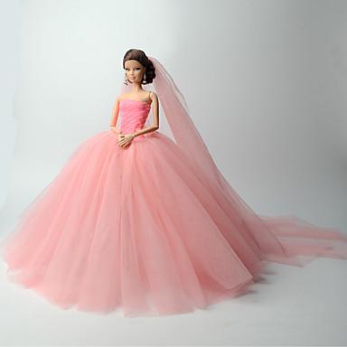olcso Barbie baba ruházat-Esküvő mert Barbie Egyszínű Organza Ruha mert Lány Doll Toy