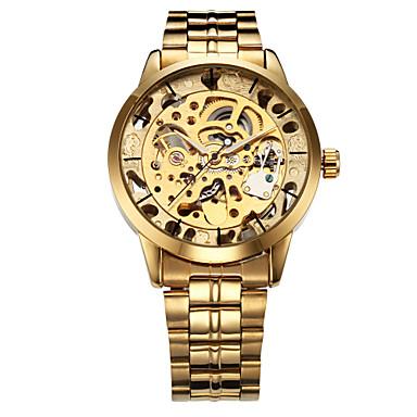 WINNER Bărbați Ceas Schelet Ceas de Mână ceas mecanic Mecanism automat Oțel inoxidabil Auriu Gravură scobită Analog Lux - Argintiu Auriu