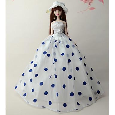 olcso Barbie baba ruházat-Baba ruha Party / Estélyi mert Barbie Pöttyös Csipke Organza Szmoking mert Lány Doll Toy