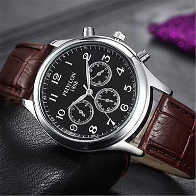 Недорогие Часы на кожаном ремешке-Муж. Модные часы Кварцевый На каждый день / Аналоговый Белый / Бежевый Белый Черный / Кожа