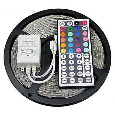 ieftine Benzi De Lumini LED-Zdm 5m impermeabil 300 x 2835 benzi led de 8mm rgb flexibile ușor și telecomandă ir 44key conectabil auto-adeziv care schimbă culoarea