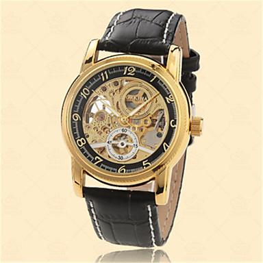 저렴한 가죽밴드 시계-남성용 패션 시계 스켈레톤 시계 석영 아날로그 골드 / 가죽