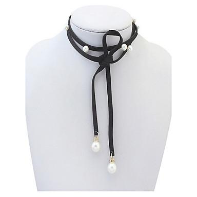 olcso Gyöngy nyakláncok-Női Nyaklánc medálok Személyre szabott Divat Euramerican Gyöngy Ötvözet Fekete Nyakláncok Ékszerek Kompatibilitás Parti Különleges alkalom Ajándék