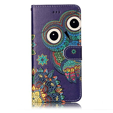 cheap iPhone Cases-Case For Apple iPhone X / iPhone 8 Plus / iPhone 8 Wallet / Card Holder / Embossed Full Body Cases Animal / Owl Hard PU Leather