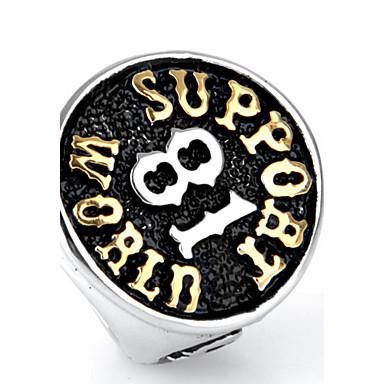 ieftine Inele-Bărbați Inel de declarație Inel Inel sigiliu Negru Auriu Oțel titan Rotund Personalizat Punk Rock Cadouri de Crăciun Petrecere Bijuterii Inele de liceu Clasă