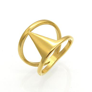 olcso Karikagyűrűk-Férfi Női Band Ring Nyilatkozat gyűrű Gyűrű Arany Ezüst Titanium Acél 18 karátos arany Kör Geometric Shape Taper Shape Személyre szabott Karika Geometrijski oblici Esküvő Parti Ékszerek