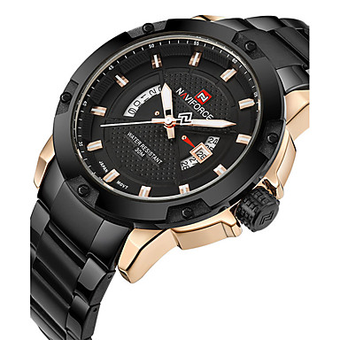 cheap Steel Band Watches-Men's Sport Watch Military Watch Wrist Watch Luxury Water Resistant / Waterproof Analog Black / Gold Black / Silver Black / Two Years / Stainless Steel / Calendar / date / day / Maxell2025