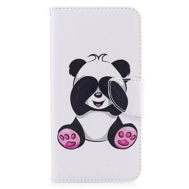 voordelige iPhone X hoesjes-hoesje Voor Apple iPhone X / iPhone 8 Plus / iPhone 8 Portemonnee / Kaarthouder / met standaard Volledig hoesje Panda Hard PU-nahka