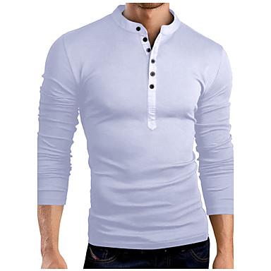 abordables Camisetas y Tops de Hombre-Hombre Básico Algodón Camiseta, Escote Chino Delgado Un Color Gris / Manga Larga / Primavera / Otoño