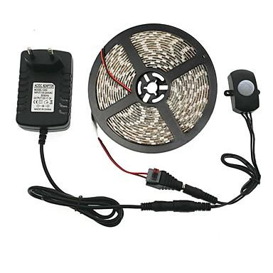 28 59 Automatic Pir Motion Sensor Switch Led Strip Set Dc12v 5m Smd5050 10mm Led Under Bed Light Bedroom Night Lights White Warm White 3a Power