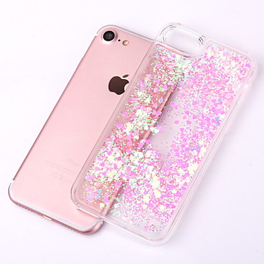 voordelige iPhone 6 Plus hoesjes-hoesje Voor Apple iPhone X / iPhone 8 Plus / iPhone 8 Stromende vloeistof / Transparant Achterkant Glitterglans Hard PC