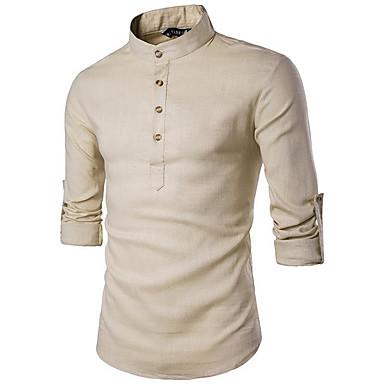 رخيصةأون قمصان رجالي-رجالي النمط الصيني أساسي كتان قميص, لون سادة رقبة طوقية مرتفعة نحيل / كم طويل
