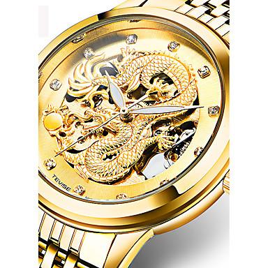 Недорогие Часы на металлическом ремешке-Муж. Спортивные часы Часы со скелетом Армейские часы С автоподзаводом Кулоны Защита от влаги Аналоговый Белый Черный Золотой / Нержавеющая сталь / Нержавеющая сталь / Календарь