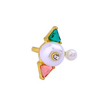 رخيصةأون خواتم-نسائي خاتم أبيض سبيكة مخصص تصميم فريد أسلوب بسيط زفاف مناسب للحفلات مجوهرات