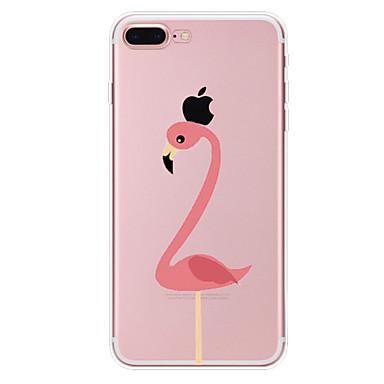 voordelige iPhone X hoesjes-hoesje Voor Apple iPhone X / iPhone 8 Plus / iPhone 8 Transparant / Patroon Achterkant Flamingo / dier Zacht TPU
