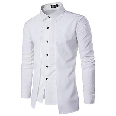 رخيصةأون قمصان رجالي-رجالي النمط الصيني أساسي قطن قميص, لون سادة ياقة مفرودة نحيل / كم طويل / الربيع / الخريف