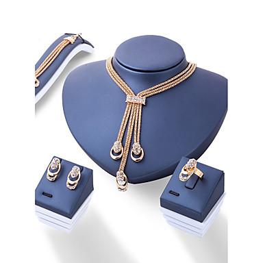 رخيصةأون أطقم المجوهرات-نسائي مجموعة مجوهرات سيدات موضة euramerican في الأقراط مجوهرات ذهبي من أجل زفاف