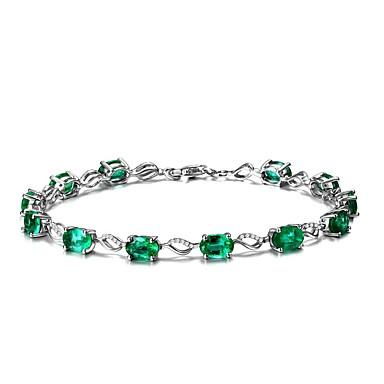 levne Řetízkové náramky-Dámské Syntetický smaragd Řetězové & Ploché Náramky Emerald Cut dámy příroda Módní Smaragdová Náramek šperky Zelená Pro Svatební Párty Narozeniny Večírek Plesová maškaráda Zásnuby