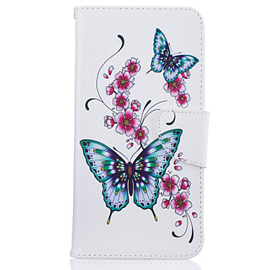 voordelige iPhone 5 hoesjes-hoesje Voor iPhone 7 / iPhone 7 Plus / iPhone 6s Plus Portemonnee / Kaarthouder / met standaard Volledig hoesje Vlinder / Bloem Hard PU-nahka voor iPhone SE / 5s
