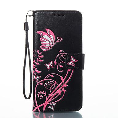 رخيصةأون حافظات / جرابات هواتف جالكسي S-غطاء من أجل Samsung Galaxy S8 Plus / S8 / S7 edge محفظة / حامل البطاقات / مع حامل غطاء كامل للجسم فراشة قاسي جلد PU