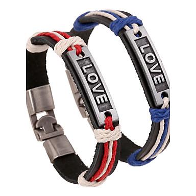 voordelige Heren Armband-Heren Dames Lederen armbanden Natuur Modieus Leder Armband sieraden Rood / Blauw Voor Speciale gelegenheden Lahja