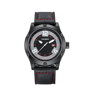 رخيصةأون ساعات الرجال-CAGARNY رجالي ساعة كاجوال ساعة رياضية ساعات فاشن ياباني كوارتز جلد أسود / أحمر 30 m رزنامه كوول مماثل كلاسيكي عتيق كاجوال - أسود-أحمر أحمر أسود / أبيض