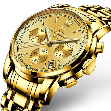 Недорогие Часы на металлическом ремешке-ONTHEEDGE Муж. Спортивные часы Армейские часы Наручные часы Кварцевый Трехглазый Шести игольный Кулоны Защита от влаги Аналоговый Белый / серебро Белый / Золотистый Черный / Два года / Японский