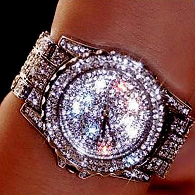 olcso Páros karórák-Páros Luxus karórák Karóra Diamond Watch Rozsdamentes acél Ezüst / Arany / Vörös arany Kreatív Analóg Amulett Luxus Bokaperec Divat Elegáns - Arany Ezüst Vörös arany Egy év Akkumulátor élettartama