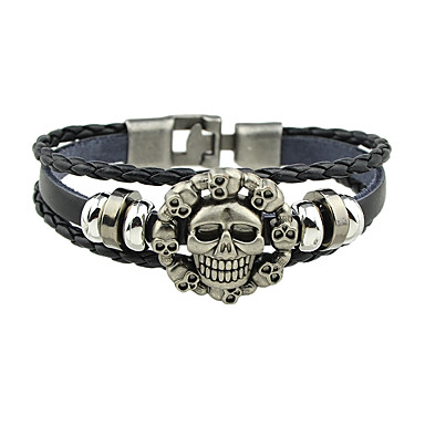 Herr Dam Läder Armband - Läder Döskalle Punk Armband Smycken Svart Till  Gåva 5886718 2019 – €2.99 7fd56285ae01c