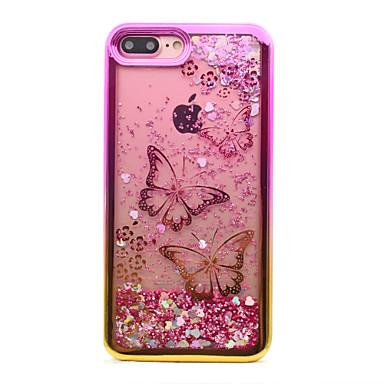 voordelige iPhone-hoesjes-hoesje Voor Apple iPhone 8 Plus / iPhone 8 / iPhone 7 Plus Beplating / Stromende vloeistof / Patroon Achterkant Vlinder / Glitterglans Zacht TPU