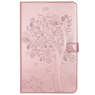 cheap Tablet Cases-Case For Samsung Galaxy / Tab A 8.0 / Tab A 9.7 Tab E 9.6 / Tab A 7.0 / Tab A 10.1 (2016) Wallet / Card Holder / with Stand Full Body Cases Cat / Butterfly / Tree Hard PU Leather / Auto Sleep / Wake