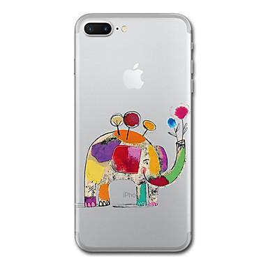 voordelige iPhone 5 hoesjes-hoesje Voor iPhone 7 / iPhone 7 Plus / iPhone 6s Plus iPhone SE / 5s Transparant / Patroon Volledig hoesje dier / Olifant Zacht TPU