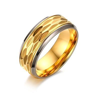 olcso Gyűrűk-Férfi Gyűrű Arany Titanium Acél Arannyal bevont Kör Vintage minimalista stílusú Elegáns Esküvő Party / estély Ékszerek / Köszönöm / Napi