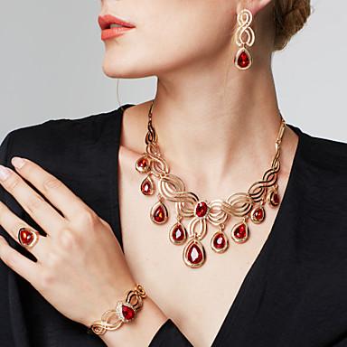 ieftine Seturi Bijuterii De Cristal-Pentru femei Sintetic Ruby Cercei Picătură Coliere Inel de declarație Eliminat Temă Florală Floare Declarație femei Lux Boem Modă Boho 18K Placat cu Aur Ștras cercei Bijuterii Auriu Pentru Nunt