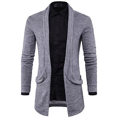 abordables Pulls & Cardigans pour Homme-Homme Quotidien Couleur Pleine Manches Longues Normal Cardigan Pull pull, Col en V Printemps / Automne Noir / Blanche / Gris M / L / XL