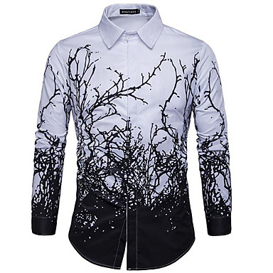 رخيصةأون قمصان رجالي-رجالي عمل طباعة قميص, شجر / أوراق ياقة مفرودة نحيل أسود و أبيض / كم طويل / الربيع / الخريف