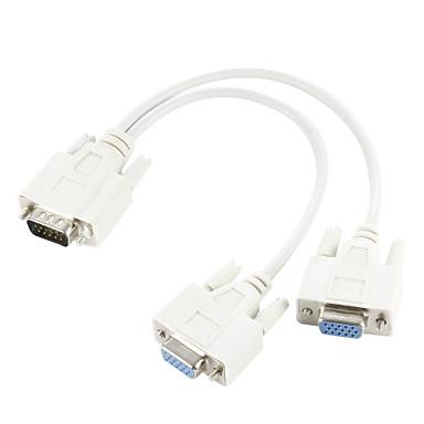 olcso VGA-vga SVGA 15 tűs kettős 2 nő monitor adapter y elosztó zsinórját