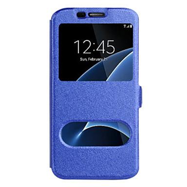 hoesje Voor Samsung Galaxy S8 Plus / S8 / S7 edge met venster Volledig hoesje Effen Hard PU-nahka