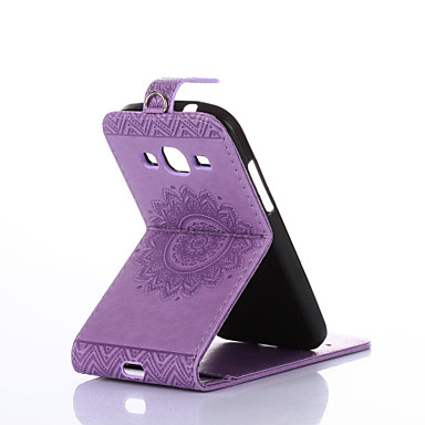 povoljno Maske za mobitele-Θήκη Za Samsung Galaxy Core Prime / Ace 4 Utor za kartice / sa stalkom / Zaokret Korice Jednobojni Tvrdo PU koža