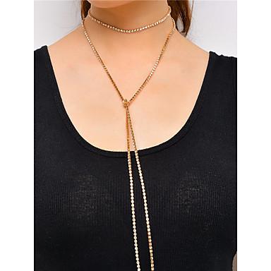 olcso Gallér-Női Rövid nyakláncok Gallér Személyre szabott minimalista stílusú Divat Multi-módon kell viselni Réz Strassz Arany Ezüst Nyakláncok Ékszerek Kompatibilitás Parti / Estélyi Napi Hétköznapi Casual