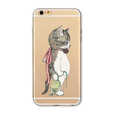 olcso Összes megtekintése-Case Kompatibilitás Apple iPhone X / iPhone 8 Plus / iPhone 8 Átlátszó / Minta Fekete tok Cica / Állat Puha TPU