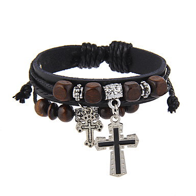 Leather Bracelet Cross Friends Vintage Natural Stretch Black Brown For Birthday Party Evening Dailywear 6022130 2018 3 99