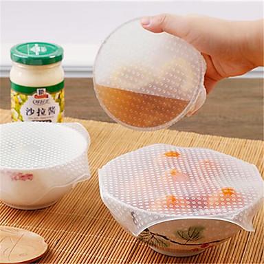 4 قطع متعددة الوظائف الغذاء الطازجة حفظ ساران التفاف أدوات المطبخ reusable سيليكون الغذاء يلتف ختم فراغ غطاء غطاء تمتد