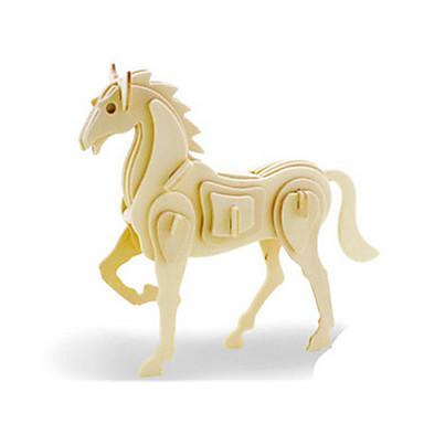 قطع تركيب3D تركيب النماذج الخشبية ديناصور طيارة حصان اصنع بنفسك خشبي كلاسيكي للجنسين ألعاب هدية