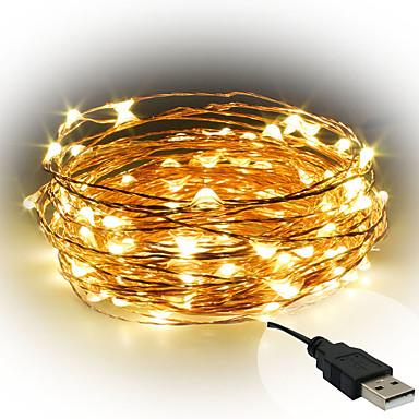 10m Žice sa svjetlima 100 LED diode SMD 0603 Toplo bijelo / Bijela / Crveno Ukrasno USB napajanje 1pc / IP65