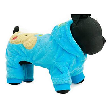 povoljno Odjeća za psa i dodaci-Pas Hoodies Zima Odjeća za psa Fuksija Plava Kostim Pliš Crtani film Ležerno / za svaki dan XXS XS S M L