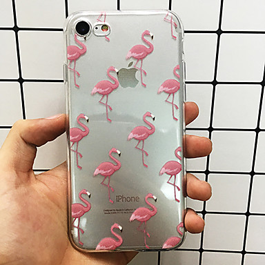 voordelige iPhone 5 hoesjes-hoesje Voor Apple iPhone X / iPhone 8 Plus / iPhone 8 Ultradun / Doorzichtig Achterkant Flamingo / dier Zacht TPU