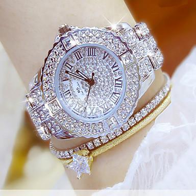 olcso Ékszerórák-Női Luxusóra Karóra Diamond Watch Rozsdamentes acél Ezüst / Arany Vízálló Kronográf Kreatív Analóg hölgyek Szimulált gyémántóra Elegáns Csing Csing - Aranyóra 4 db-es karkötővel Ezüst karóra 4db Arany