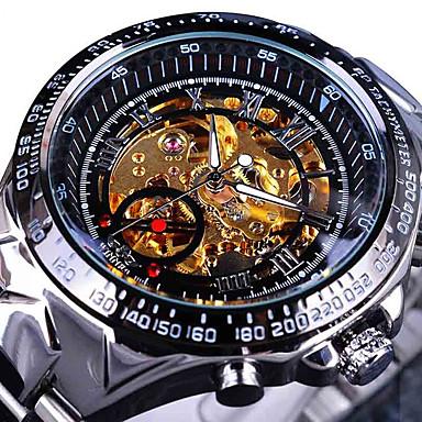 Недорогие Часы на металлическом ремешке-Муж. Часы со скелетом Наручные часы Механические часы С автоподзаводом На каждый день Повседневные часы Аналоговый Белый / серебро Черный / Серебристый Золото / серебро / черный / Нержавеющая сталь